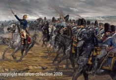 "Waterloo, to raise money for the upkeep of certain areas of the battlefield, It depicts an incident in the battle when Capt Cavalie Mercer (moustache on horseback) held his ground against the massed ranks of French cavalry despite being told to retreat to the British squares. It took over a year to finish the 2 paintings with a lot of research involved, Oil on canvas, 45"" x 30""-Art of Karl Kopinski"