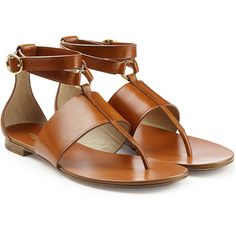 Michael Kors Collection Leather Sandals ($325) ❤ liked on Polyvore featuring shoes, sandals, flats, flat sandal, zapatos, brown, brown shoes, brown leather sandals, flat sandals and flat pumps