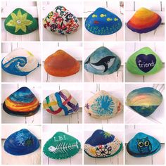 Guests paint large clam shells from the beach and hang them on our beach house wall Seashell Painting, Seashell Art, Seashell Crafts, Beach Crafts, Crafts To Do, Crafts For Kids, Arts And Crafts, Diy Crafts, Ladybug Rocks