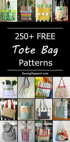 Lots of free tote bag patterns and ideas. Many simple and easy diy designs for large and small fabric bags, plus tutorials for zippered, quilted, and lined designs. Great for grocery shopping and travel. #bagpatterns #diygiftsformom
