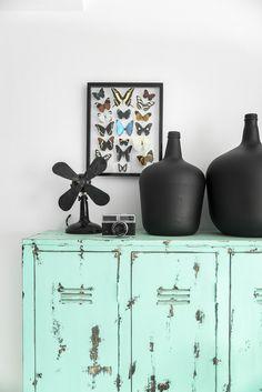 Old School PE lockers in Tiffany blue (love the butterfly collection) @Hollie Baker K Living | © Paulina Arcklin | Est Magazine