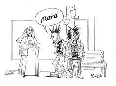 """You are weird"" - said the punk rocker to a nun Thank God, Religious Art, Catholic, Laughter, Weird, Punk, Faith, Joy, Photo And Video"