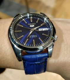 Seiko snkl43 bracelet cuir bleu imitation croco