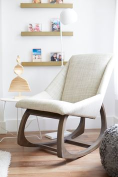 Designed by renowned furniture designer Maria Yee, this gorgeous rocking chair… Handmade Furniture, Modern Furniture, Furniture Design, Plastic Folding Chairs, Deco Retro, Modern House Design, Room Chairs, Hallway Chairs, Chair Cushions