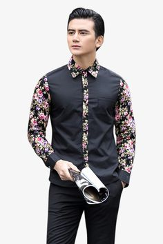 Men's Floral Long Sleeve Shirt In Black