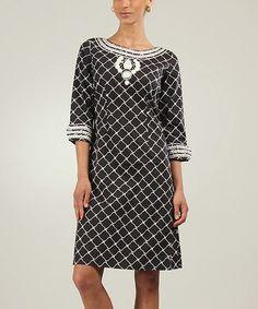 Love this Black & White Katarina Three-Quarter Sleeve Dress on #zulily! #zulilyfinds