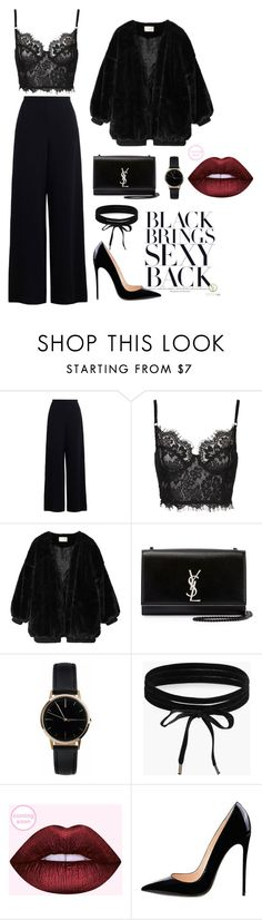 """All Black"" by vanesa-roznikova ❤ liked on Polyvore featuring Zimmermann, Yves Saint Laurent, Freedom To Exist and Boohoo"