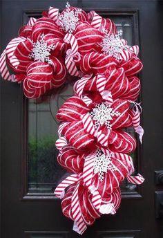 Christmas Door Wreath Candy Cane Decoration Deco Mesh XXL Outdoor Decor Luxe | eBay