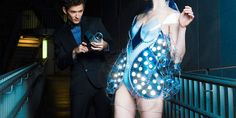 Light sensitive dress, bulbs ignite when flashed with light