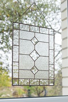Stained glass window panel with bevel inserts. Modern window handing, suncatcher with rombs. Modern Stained Glass, Custom Stained Glass, Custom Glass, Stained Glass Panels, Stained Glass Patterns, Window Hanging, Window Panels, Beveled Glass, Mosaic Glass