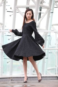 Black Big Sweep Long Puff Sleeve Dress for Women -Custom Made - NC213