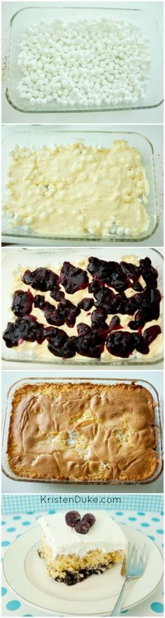 Easy Blueberry Whip Cake Recipe! Made with cake mix, cool whip and mini marshmallows!