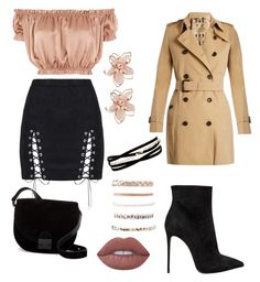"""""""*"""" by a-bea-c ❤ liked on Polyvore featuring WYLDR, Le Silla, Burberry, Kenneth Jay Lane, Charlotte Russe, Lime Crime, NAKAMOL and Loeffler Randall"""
