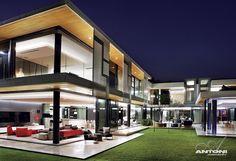Modern facade at night