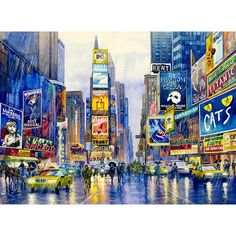 Rainy Times Square watercolor painting by Roustam Nour fine art giclée print for sale. This New York Art painting reproduction is printed on exhibition quality textured watercolor paper. Three sizes available of this New York artwork. Prices start from $30.00.