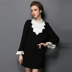 Women Black White Pearl Beaded Ruffles Long Sleeve Dress