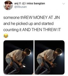 Money Jin cant accept it and threw it back Seokjin, Hoseok, Namjoon, Taehyung, Bts Jin, Bts Bangtan Boy, Jimin, Steven Universe, Kpop