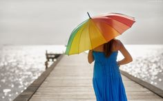 Kobieta, Parasol, Molo, Morze