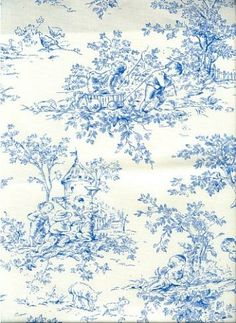 """Central Park Blue.  100% Cotton Traditional Toille Scene Print. 54"""" Wide."""