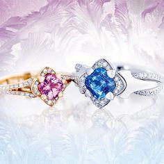Solitaire Verlobungs-Ringe mit rosa & blauem Saphir Ring Verlobung, Sapphire, Engagement, Rings, Jewelry, Pink, Engagement Ring Solitaire, Jewlery, Bijoux