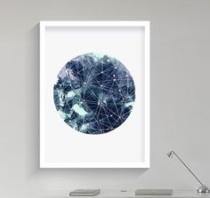 Geometric Art Moon Galaxy Sky Space Stars Print Geometric von Fybur