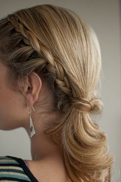 Braid the side, make a low pony tail, wrap a piece of hair around the hair tie, and you got yourself a cute little hairdo. I do this with a side pony, only pulling hair from the front side of the braid closet to my face to French braid. Very cute!