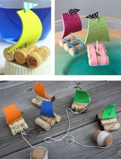 Cute little # cork boats – The perfect toy for a day at the lake. - DIY Crafts for Kids Kids Crafts, Summer Crafts, Projects For Kids, Diy And Crafts, Diy Projects, Games For Kids, Diy For Kids, Cork Crafts, Diy Toys