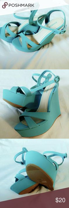 ( NEW ) BLUE WEDGE SHOES Blue strap wedge shoes Shoes Wedges
