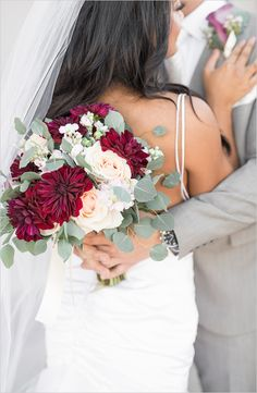 LB - no, too much contrast w/out midtones marsala bridal bouquet Burgundy Wedding, Floral Wedding, Fall Wedding, Wedding Colors, Dream Wedding, Trendy Wedding, Bride Bouquets, Bridesmaid Bouquet, Bridesmaid Dresses