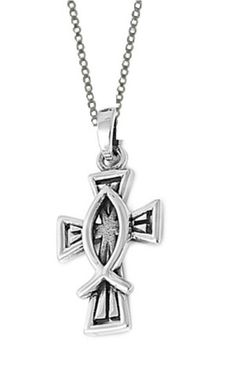 Sterling silver christian fish pendant ichthys metal clay sterling silver christian fish cross pendant charm necklace with 18 inch chain aloadofball Images