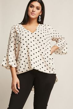Product Name:Plus Size Textured Polka Dot Surplice High-Low Top, Category:CLEARANCE_ZERO, Price:28