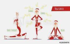 Santa Claus Doing Yoga Set. Vector Xmas Illustration. 3 Poses. #yogaset  #YogaSet