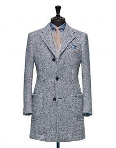 coat tailoring pics   Tailored Coat – Fabric OCS0016 Herringbone Blue