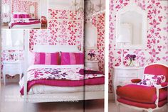 Main Bedroom,rasberry Feast at the chic shack owners ondon Home ,featured in waranda magazine -Poland.