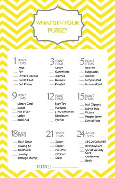 Bridal Shower Game Printable What's in Your by Onthegoprints
