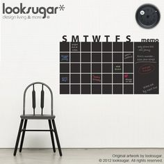 Great chalkboard calendar wall sticker - create a feature wall with this in your bedroom or office & maintain an organized schedule!