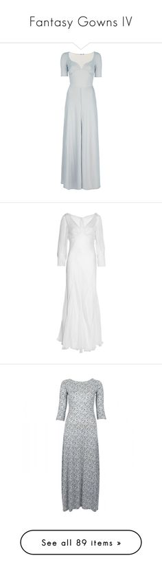 """""""Fantasy Gowns IV"""" by savagedamsel ❤ liked on Polyvore featuring dresses, gowns, long dresses, maxi dresses, vestidos, grey, grey maxi dress, slit maxi dress, vintage long dresses and vintage gown"""