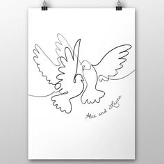 Personalised Wedding Two Doves Line Drawing by Lost Wonderland, the perfect gift for Explore more unique gifts in our curated marketplace. Bird Line Drawing, Love Birds Drawing, Dove Drawing, Bird Drawings, Wedding Doves, Love Birds Wedding, Wedding Wall, Wedding Stuff, Dove Sketches