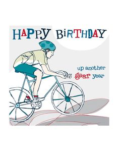 Cyclist Birthday card by Molly Mae. Priced at just £1.99. http://www.cardcrushgreetings.com/product/cyclist-birthday-card-molly-mae/