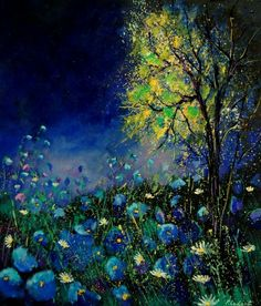 Beautiful artwork....blue poppies and daisies..by Ledent Pol ..  oil on canvas