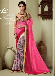 Buy georgette-lace-border-work-party-wear-saree-pink-1613 through Online…