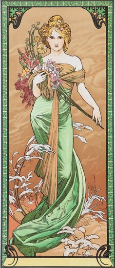 "jessicasuniquegiftshop: In our on going project of collecting vintage and retro art and photographs here are the store, we have collected prints of works by Alphonse Mucha. His Art Nouveau style was one that I remember studying in college. His artwork is so beautiful. His paintings of the ""seasons"" where always some of my favorites. Since it is the start of Spring, I thought this painting was appropriate for this time of the year- it is from 1900. It was, and still is, one of my favorites."