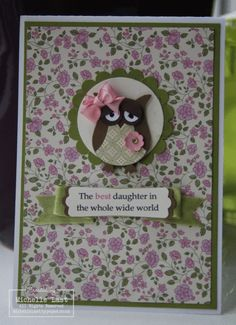 Stampin Up: Owl Builder Punch. Nice use of the DSP and pretty banner on sentiment