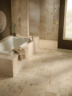 bathrooms travertine gray | ... and Baja Cream Travertine honed on the tub surround and shower floor
