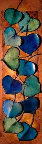 """GREEN AND BLUE LEAVES 12024, contemporary mixed media aspen leaves © Carol Nelson Fine Art"" - Original Fine Art for Sale - © Carol Nelson"