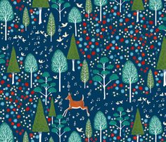 In the Forest Blue fabric by kezia on Spoonflower - custom fabric... Cute! Cute! Cute!