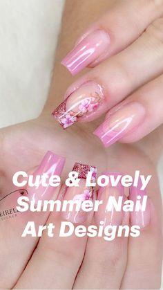 Acrylic Nail Designs Coffin, Bling Acrylic Nails, Colorful Nail Designs, Nail Art Designs, Clear Gel Nails, Short Square Acrylic Nails, Romantic Nails, Summer Toe Nails, Nail String Art
