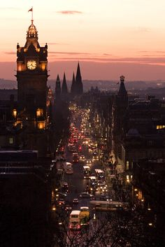 Princes Street, Edinburgh, seen from Carlton Hill just after sunset.
