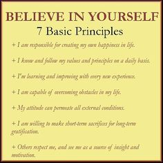 Believe In Yourself 7 Basic Principles