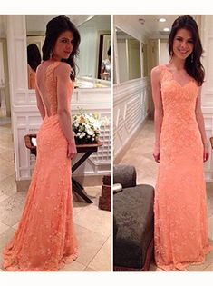 Backless Prom Dress,Lace Prom Dresses,Long Evening Dress
